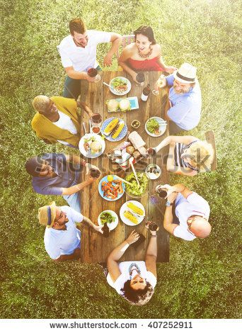 Friends Bonding Celebration Food and Beverages Picnic Concept - stock photo