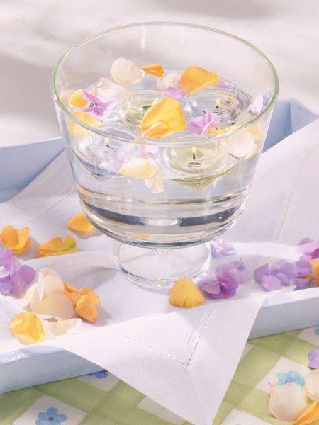 Jetzt regnet es kleine Blüten , denn der Wind pustet sie von den Ästen. Sammeln Sie die zarte Schönheiten auf + lassen Sie sie mit einer Kerze im Wasser schwimmen