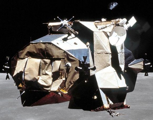 Apollo 16's Ascent stage looks a bit the worst for wear during its rendezvous with the CSM | NASA