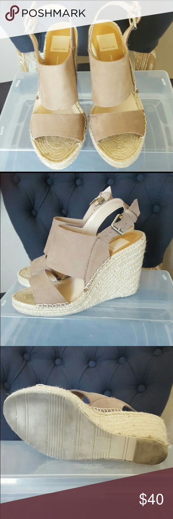 Dolce Vita Nude Espadrille Wedges -Size 7 Gently worn super cute wedges that go with almost anything! Very comfortable. Size 7. Nude leather. Make an offer! Dolce Vita Shoes Wedges