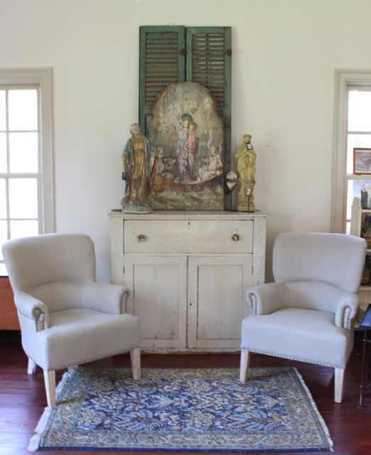 Upholstered Linen chair from Vintage American Home Alabaster White SW walls Bleeker Beige SW trim