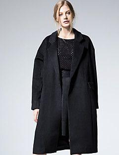 Kadın Kalın Yünlü Uzun Kollu Gömlek Yaka,Siyah Kış Solid Sade / Sokak Şıklığı Dışarı Çıkma / Günlük/Sade / Parti/Kokteyl-Kadın Kaban