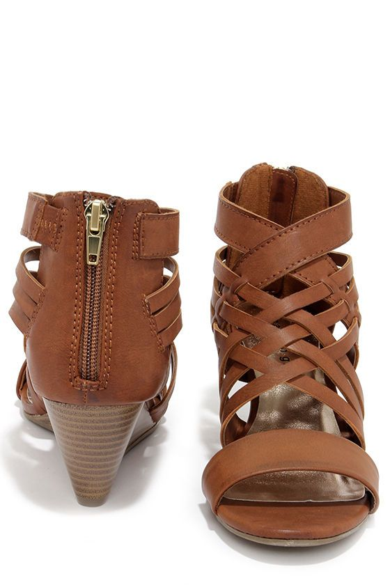 Madden Girl Honi Cognac Brown Caged Wedge Sandals The