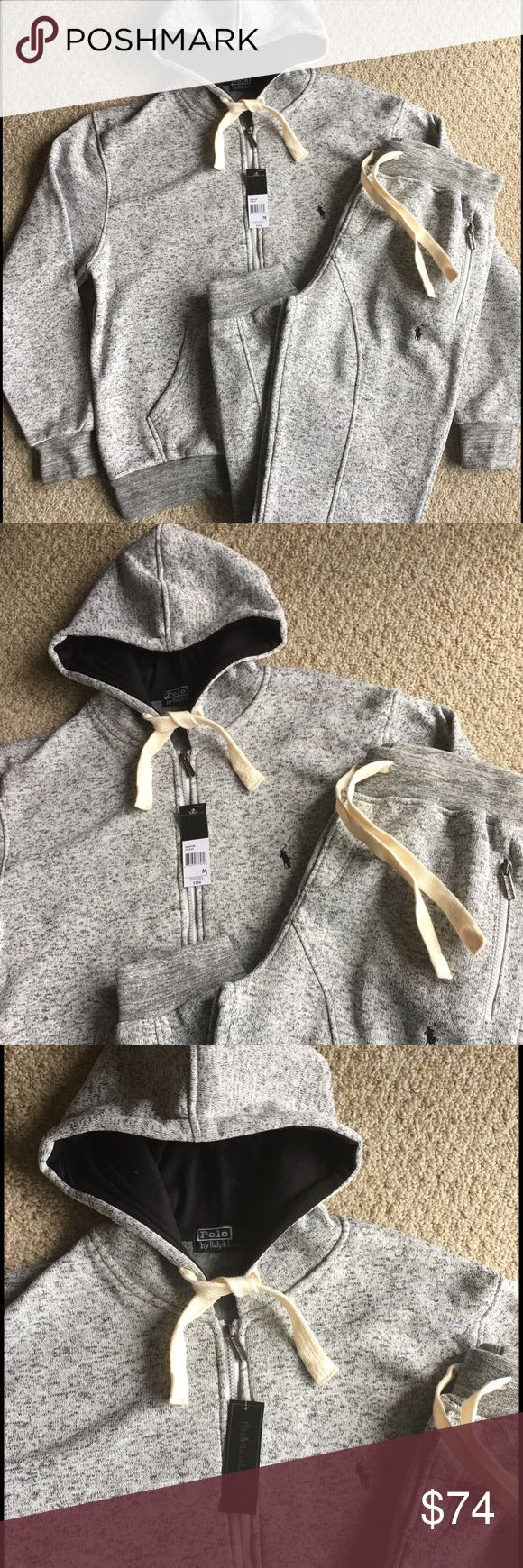New Men's Ralph Lauren Polo Hoodie Sweatpants Set Brand new with tags. Grey with Black stitch. Elastic fitted Joggers with Zipped Hoodie. Great deal! Polo by Ralph Lauren Shirts Sweatshirts & Hoodies