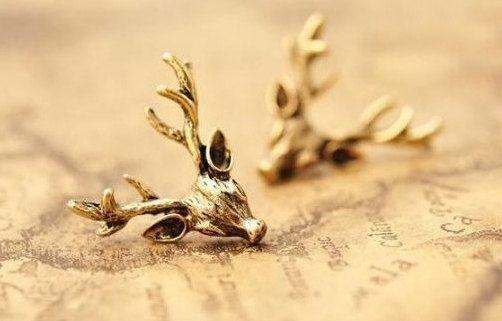 Gold Earrings,Deer Earrings ,Antique Gold Plated On The Brass Earrings /Gypsy Hippie/Shaman Jewelry /Vintage by EphesusJewelleries on Etsy