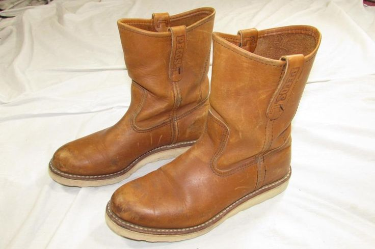 Vtg Red Wing Pecos 866 USA Made Engineer Boot Sz 7 D Crepe Sole Pull On Cowboy #RedWing #WorkSafety
