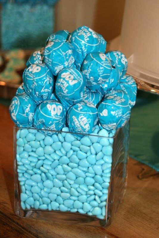 Party centerpiece - Maybe mixed colored Toosie pops with M