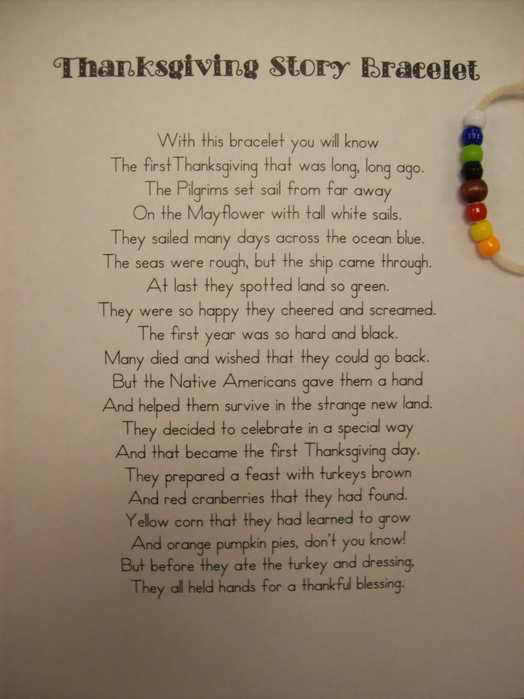 Thanksgiving Story Bracelet for kids