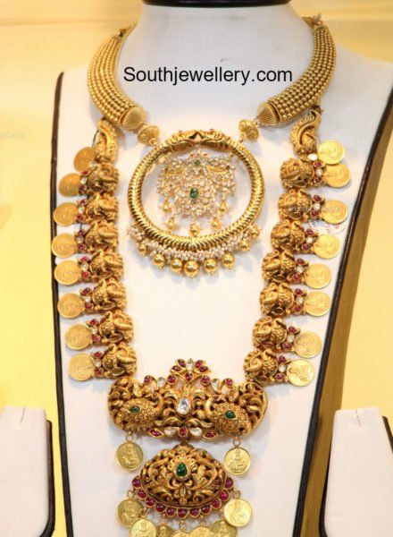 Antique Gold Choker and Peacock Kasu Haram photo