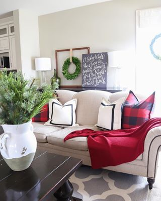 I know Christmas is really close when I start getting sick of so much red in our house  Looking forward to blue green and neutral days ahead Shop our Christmas living room at httpliketkitpVRa Wall color is Behr Castle Path liketoknowit liketoknowithome liketkit ltkhome ltkholidaystyle