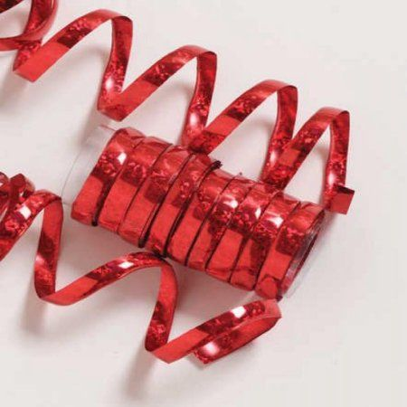 Red Holographic Serpentine Streamer, each