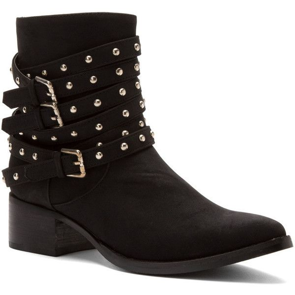 Penny Loves Kenny Women's Andrea Boots ($53) ❤ liked on Polyvore featuring shoes, boots, ankle booties, black, black bootie boots, short boots, bootie boots, studded ankle boots and black studded ankle booties