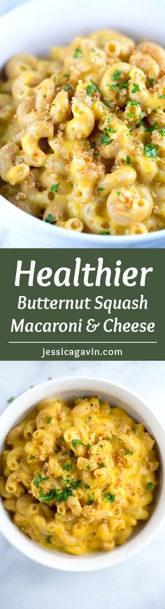 Butternut Squash Macaroni and Cheese - Classic comfort food with a healthy twist! Whole grain noodles combined with creamy cheese sauce and crunchy panko | jessicagavin.com