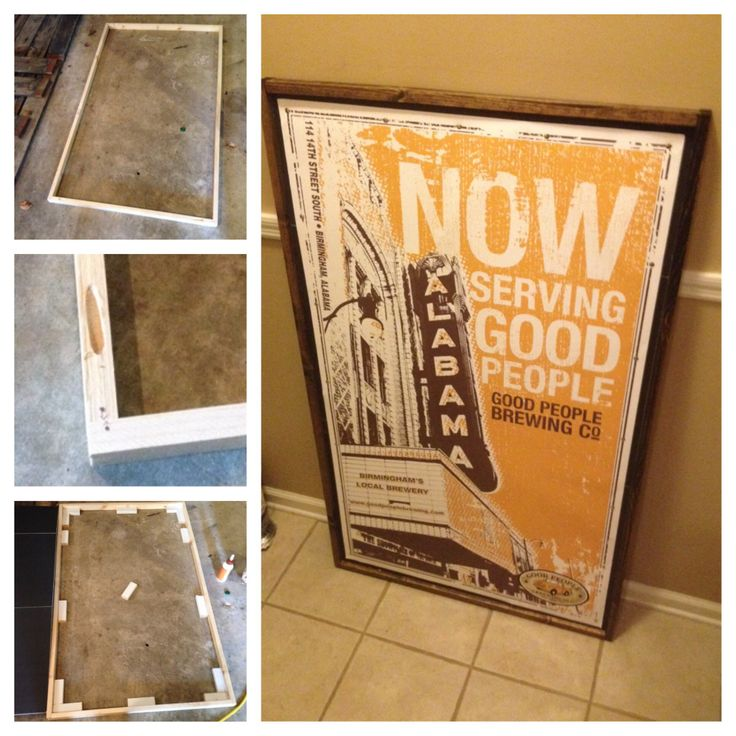 DIY Poster Frame: Make Frame Out Of Stained 1x2's Screwed