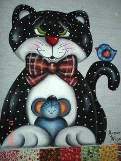 gato pintura tecido - Pesquisa Google