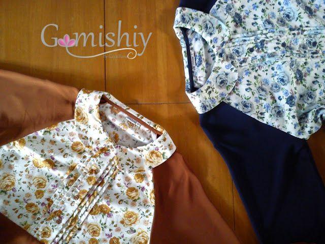 Duo gamis raglan kombinasi katun jepang floral print. Available colour merah bata & biru dongker
