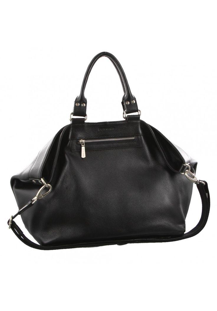 Pierre Cardin - Womens Genuine Italian Leather Black  Double Handle Tote Shoulder Bag