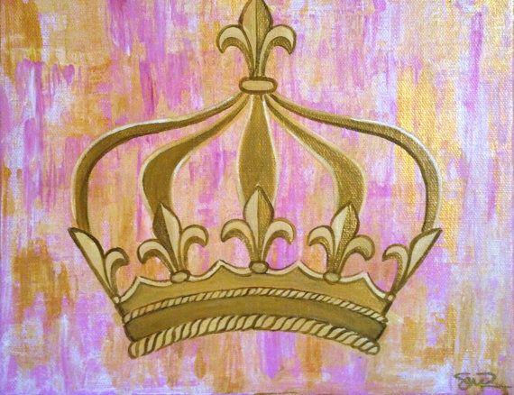 Fleur De Lis Princess Crown Acrylic Painting By