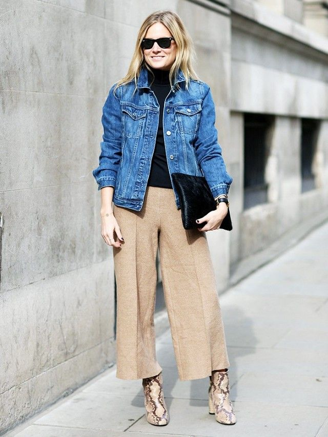 Cropped wide leg pants, snakeskin boots and denim jacket