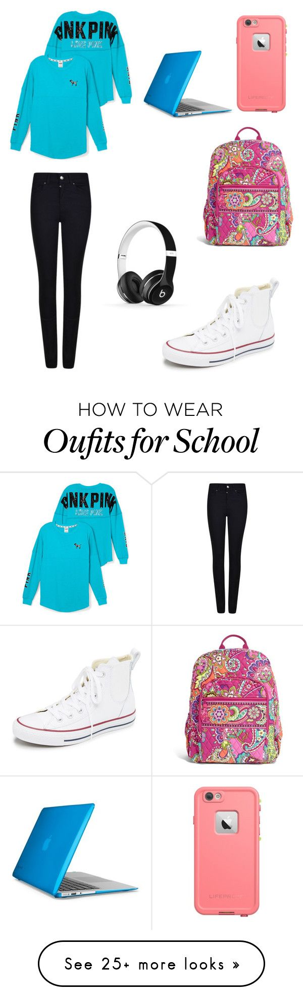 """School"" by mckinley2004 on Polyvore featuring Victoria's Secret PINK, Giorgio Armani, Converse, Vera Bradley, Speck and Beats by Dr. Dre"