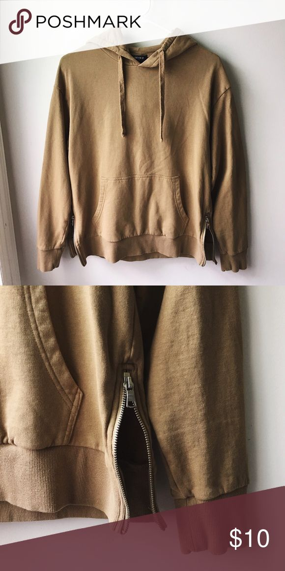 Camel Side Zip Hoodie Camel colored hoodie with silver side zippers. Kangaroo pocket. Condition is good, worn a few times only. Men's XS, fits women's S to M. Forever 21 Shirts Sweatshirts & Hoodies