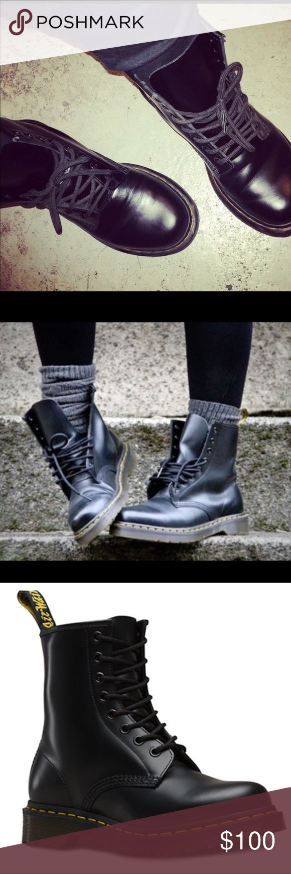 Women's 8 eye 1460 Dr. Martens Airwair Boot EUC: (no box) women's 8 eye 1460 Dr. Marten boot. This is the matte black--NOT patent. This boot is understatedly a must have in every closet--you'd be surprised how many moments you need that black combat style boot! These are in extremely good condition, I have a thing about shoes. I don't like getting my shoes dirty 🙈 getting a near brand new boot that never goes on sale--on sale! They're still stiff and not broken in 😬 Dr. Martens Shoes…