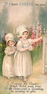 vintage image two girls at a garden gate - great for decoupaging on wooden Easter eggs