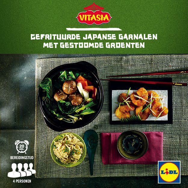 Deze gefrituurde Japanse garnalen met gestoomde groenten zijn gemakkelijk zelf te bereiden! Meer Vitasia recepten ontdekken? Kijk op www.lidl.nl #Vitasia #Lidl