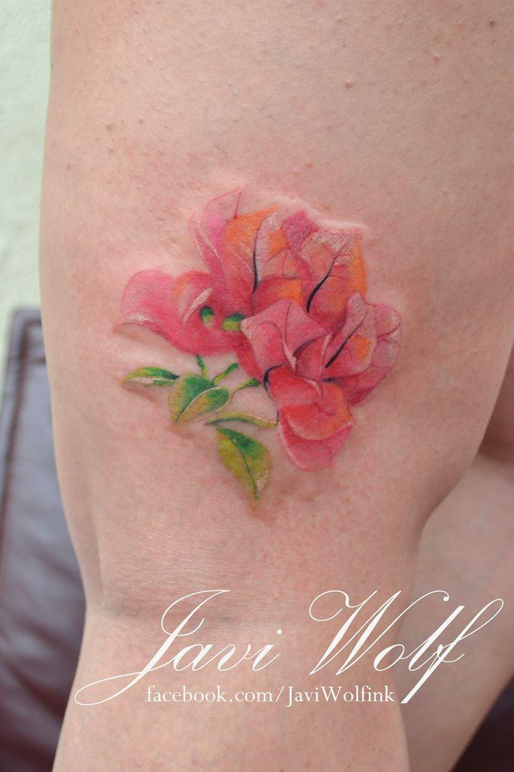 unique Watercolor tattoo - Bougainvillea, no lines, watercolor. One of the best bougainvillea tattoos I hav...