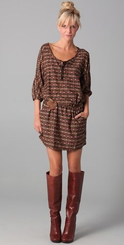 slouchy dress, boots, topknot and bangs. perfect for the 85 degree october days in savannah.
