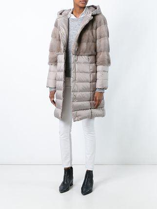 Liska mink fur panel puffer coat