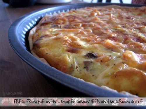 Smoked salmon, leek and mushroom quiche | The good stuff | Pinterest