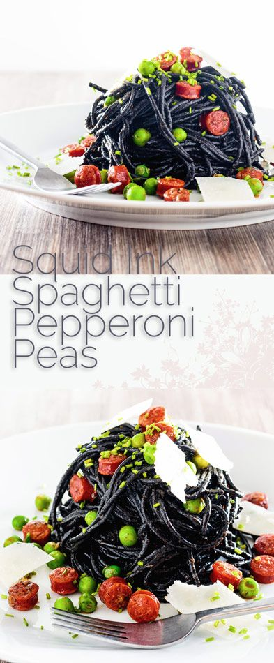 Looks classy but takes 15 minutes, this Squid Ink Spaghetti with Pepperoni and Peas has got to rank up there with my favourite mid week treats.