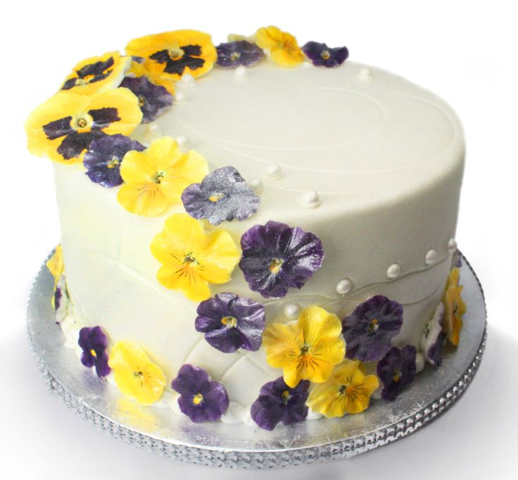 Wedding Cakes With Crystallized Pansies