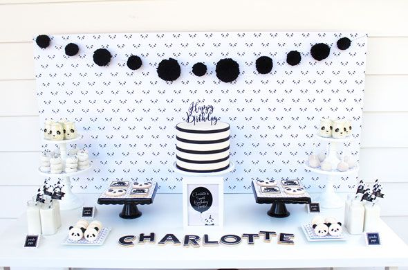 Party Like a Panda Birthday Party dessert table via Pretty My Party