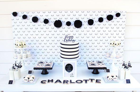 Party Like a Panda Birthday Party dessert table via Pretty My Party
