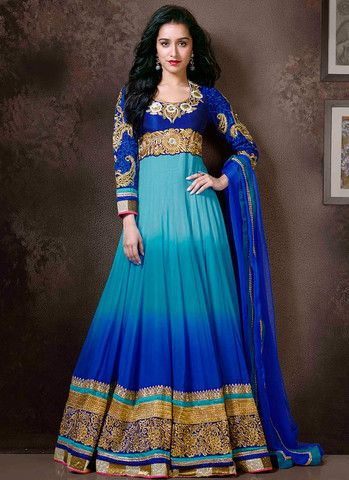 Shraddha Kapoor Blue Shaded Floor Length Anarkali Suit – Lashkaraa