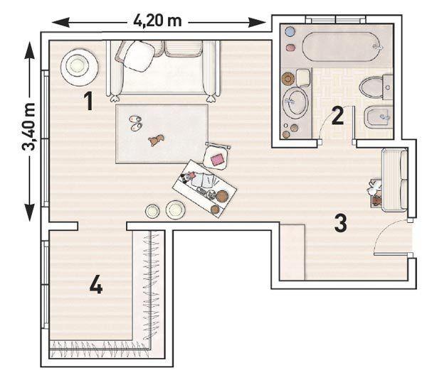 Dormitorios con baño y vestidor plano