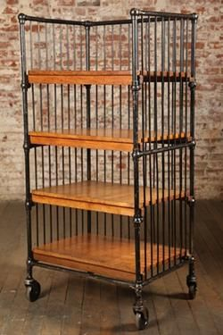 """Vintage Industrial, Bindery Cart.  Four original, maple shelves just add to the endless uses for this cart.  Storage, bookshelf, shelves, dishes or pots and pans, Mobil computer station.  TV Cart and on and on.  They are 25 1/4"""" x 19 1/4"""" and are around 9"""" high with the lowest shelf 11"""" off the floor.  Made in America"""