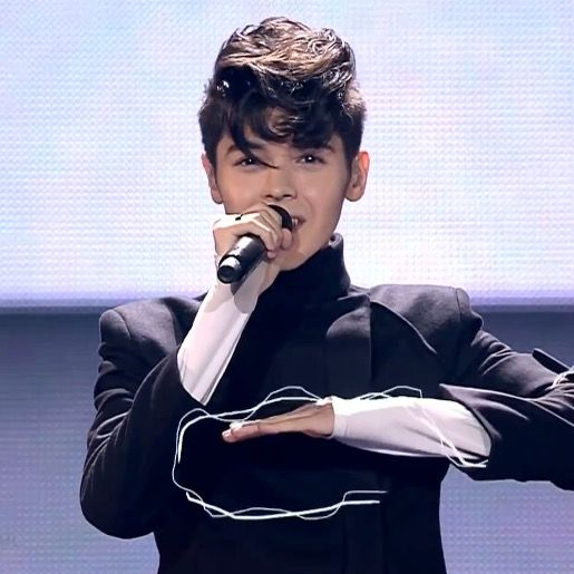 Kristian Kostov at the 62nd Eurovision Song Contest at International Exhibition Centre (IEC) in Kiev, Ukraine, 2017.