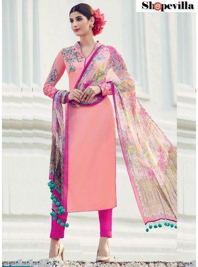 Prime Cotton Satin Pink Designer Suit-6514