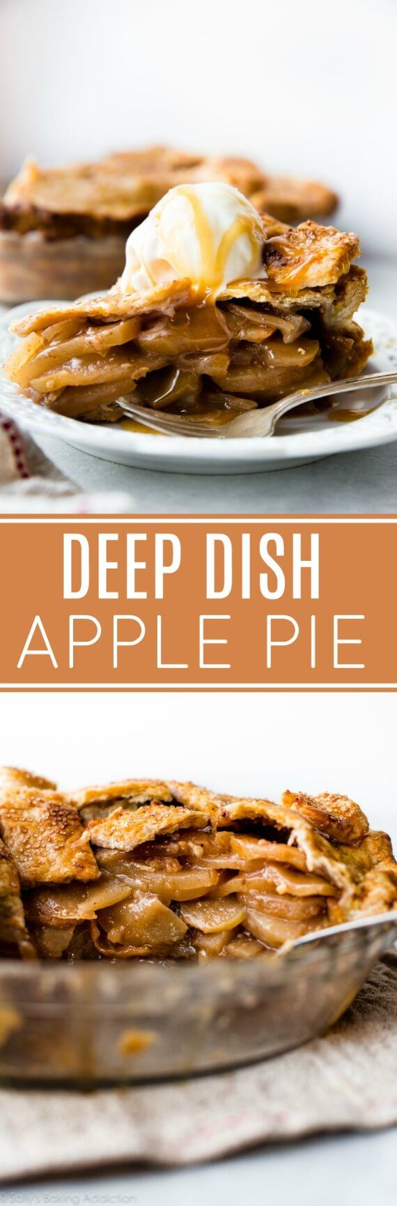 Deep dish apple pie with layers and layers of delicious apple slices and buttery flaky pie crust! Recipe on sallysbakingaddiction.com