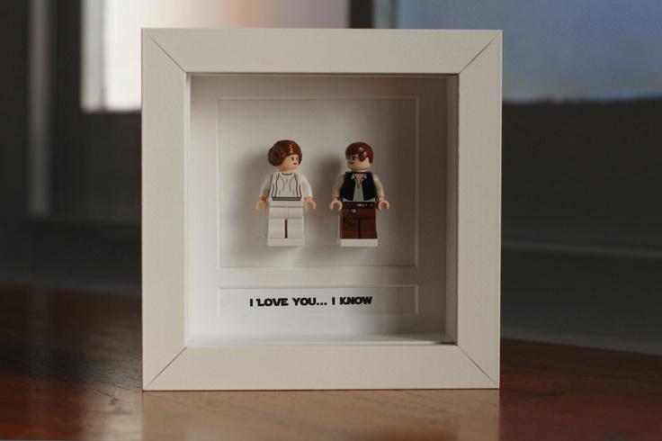 """Star Wars Lego Mini Figures Han & Leia Framed - """"I love you... I know"""". £35.00, via Etsy."""