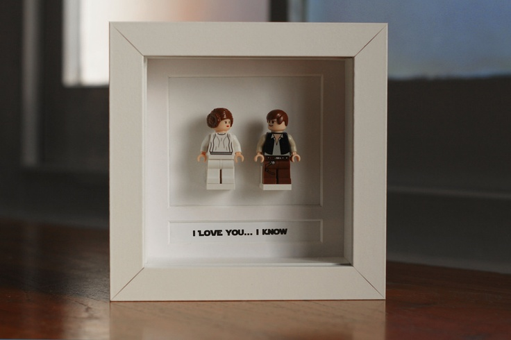 "Star Wars Lego Mini Figures Han Leia Framed - ""I love you... I know"". £35.00, via Etsy."