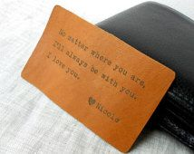 Leather Wallet Insert, Custom Wallet Card, 3rd Leather Anniversary Gift, Mens Gift, Personalized Mens Wallet Insert