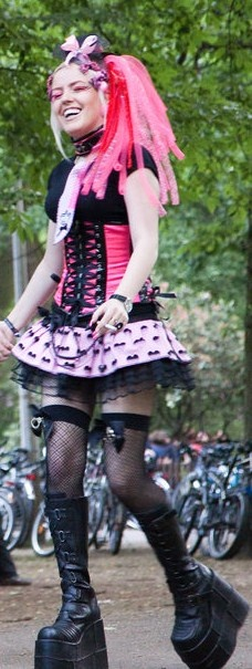A happy #Cybergoth girl at Wave Gotik Treffen - I have this skirt, never thought to use it in this way!