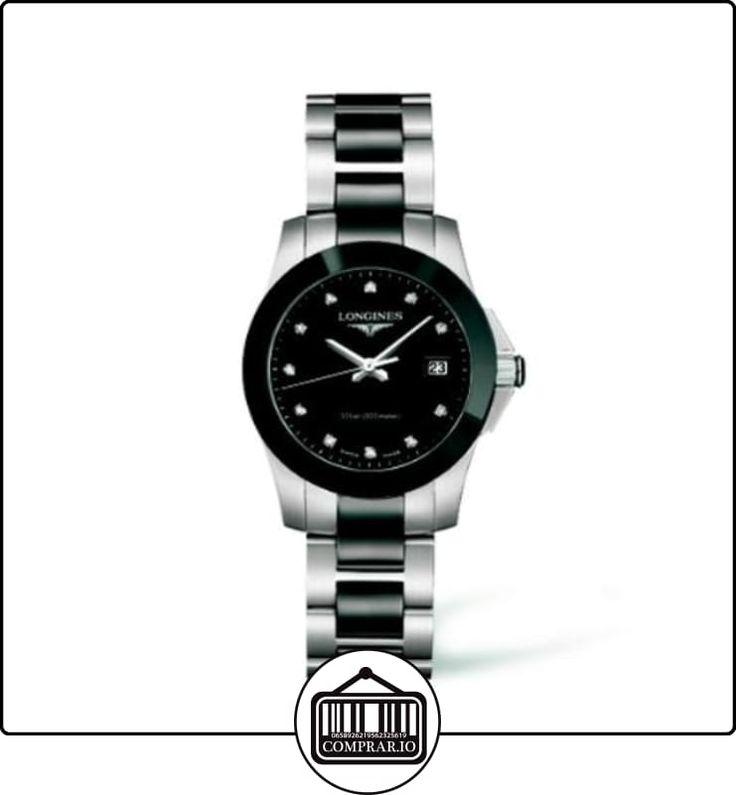 Longines Conquest del diamante negro de las señoras reloj de pulsera con esfera L32574577  ✿ Relojes para mujer - (Lujo) ✿