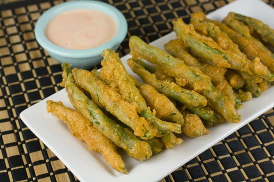 Fried green beans with spicy dipping sauce. Ugh, I wish I didn't like these so much... But they're so good!