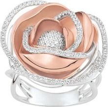 Bague en forme de rose - Or 750 & Diamants
