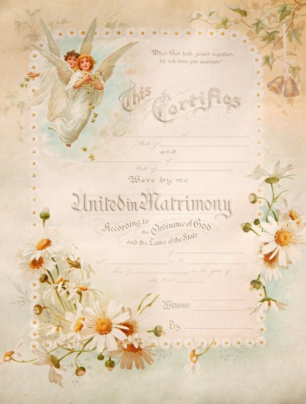 13 best Vintage Wedding Certificates images on Pinterest Wedding - marriage certificate template